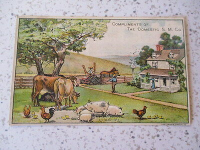 """Antique Trade Card,""""domestic Sewing Machine Co"""", August Voss, Dealer"""