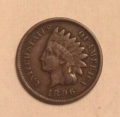 1896 Indian Head Cent Penny One Cent Us Coin