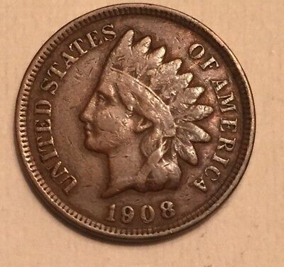 1908 Indian Head Cent Penny One Cent Us Coin