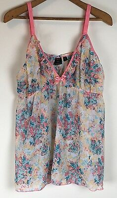 Passion Forever Lingerie Camisole Womens 2X Sheer Floral Pink Green Cami Top
