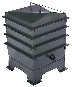 Green TIGER RAINBOW STANDARD WORMERY, 3 x Stacking Trays, Composter, Compost Bin