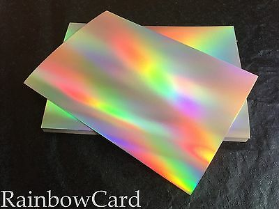 20 Sheets - Gold Rainbow Holographic A4 Crafting Card 320 Gsm