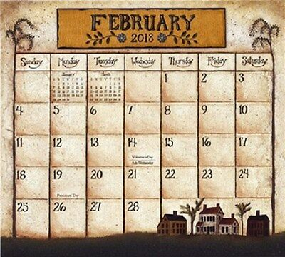 PRIMITIVE COUNTRY 2018 MAGNETIC CALENDAR PAD by DAVID HARDEN FOLK ART cl