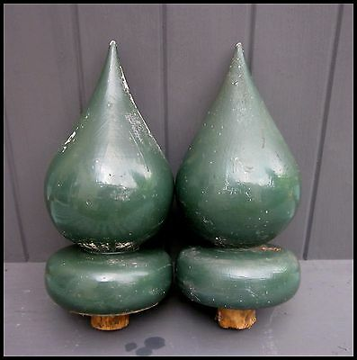 "Pair Vintage Finials Wooden | 10"" Tall Green 