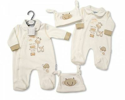 Premature Baby Clothes Boy Girl  Sleepsuit  All in One hat outfit 5-8lbs NB 0-3m