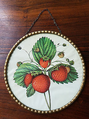 Antique Vintage Stove Pipe Flue Chimney Cover Glass Strawberries 1900s