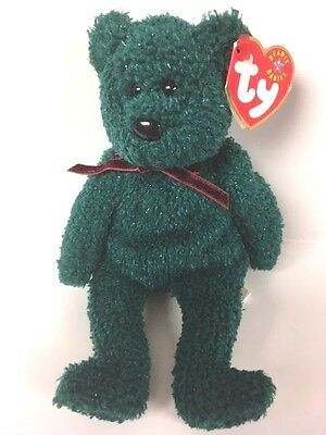 Ty Beanie babies 2001 holiday teddy Tag ERRORS Plush reTired NWT double tush tag