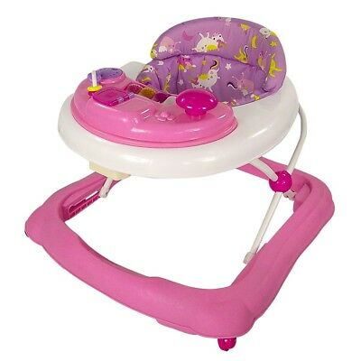 Red Kite Baby Walker Go Round Jive Adjustable Height Play Tray Unicorn Pink