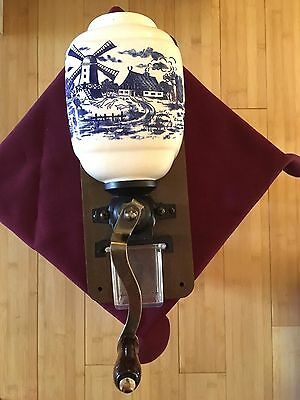 Vintage Porcelain Blue Delft Style Windmill Wall Mount Coffee Grinder