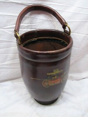 Leather Fire Bucket Reproduction of Antique Fireman Tool Replica Prop Decor