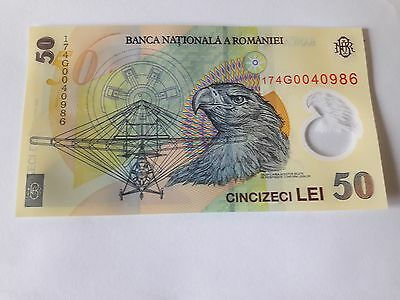 Romania - Unc 50 Lei Banknote Issued 2005 (2017) Polymer #p120