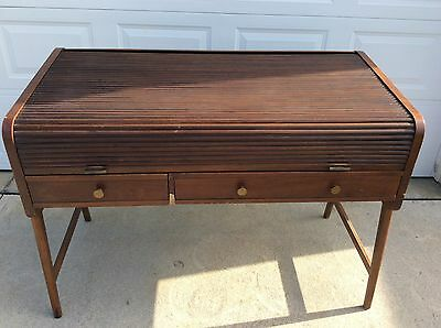 Danish Modern Style Roll Top Writing Desk by Sligh Lowry