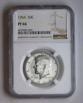 1964 50c Silver Proof Kennedy Half Dollar NGC PF 66