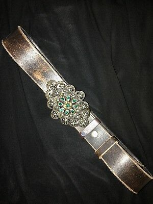Plumo Leather Belt With Jewelled Buckle