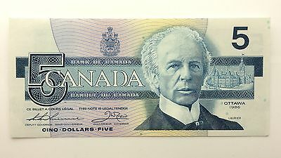 1986 Canada Five 5 Dollars GNM Series New Bill Note Uncirculated Banknote B024