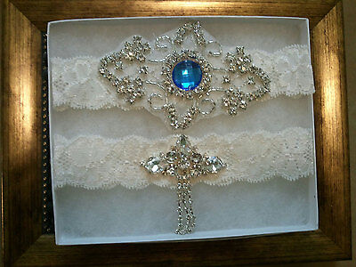 Wedding garter, Bridal Garter Set - Crystal Something Blue Wedding Garter Set