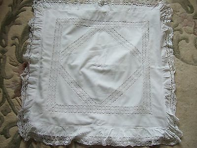 Large Vintage French Style Monogrammed & Inset Crochet White Pillow Cushion Case