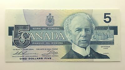 1986 Canada Five 5 Dollars FNW Series New Bill Note Uncirculated Banknote B026