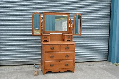 Edwardian Satin Wood Dressing Table Chest Of Drawers.