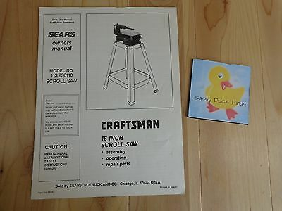 Sears OWNERS MANUAL Craftsman 16 Inch Scroll Saw 113.236110