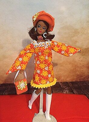 Barbie Silkstone Handmade Fashion Mod Outfit Orange Daisy Print Dress Purse Hat