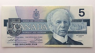 1986 Canada Five 5 Dollars FNS Series New Bill Note Uncirculated Banknote B039