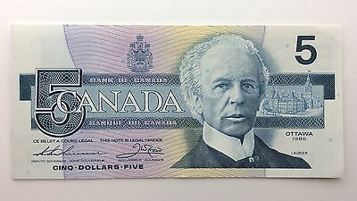 1986 Canada Five 5 Dollars GNK Series New Bill Note Uncirculated Banknote B040