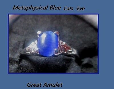 Metaphysical Blue Cats Eye Ring Attribute Prosperity Haunted  Star Psychic 6 1/2