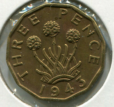 Great Britain - Nickel-Brass Threepence [3-Pence] 1943