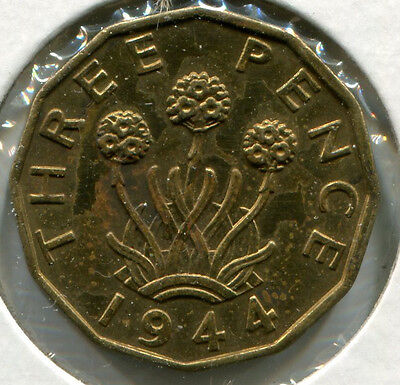 Great Britain - Nickel-Brass Threepence [3-Pence] 1944
