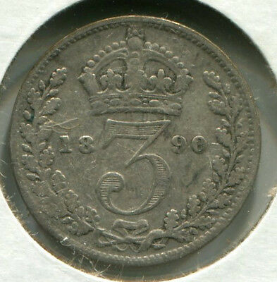 Great Britain - Silver Threepence [3-Pence] 1890