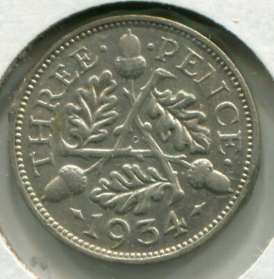 Great Britain - Silver Threepence [3-Pence] 1934