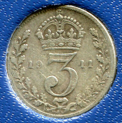 Great Britain - Silver Threepence [3-Pence], George V, 1911