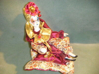 RED & GOLD METALIC JESTER CLOWN MUSIC Box  musical