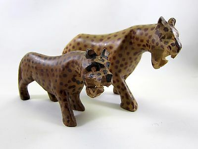 (2) Hand Carved Wood Cheetah Figurines Two Sizes - Very Nice