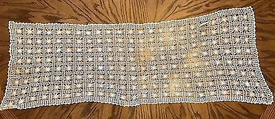 "39""x16"" Vintage Dresser Scarf Runner Piano Scarf Hand Crochet Ivory/Natural"
