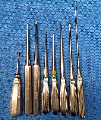Lot of 8, Surgical Curettes, Assorted Sizes/Brands, Dermal, Orthopedic, Surgical