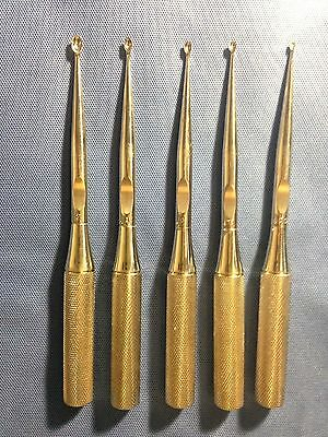 Lot of 5, Surgical Curettes, Sizes 000, 00, 0, 1 & 2, Stainless, Orthopedic
