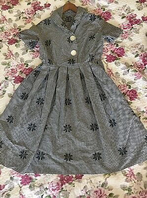 True Vintage 1950 Gingham Cotton Dress Rockabilly Country 50s 60s circle skirt