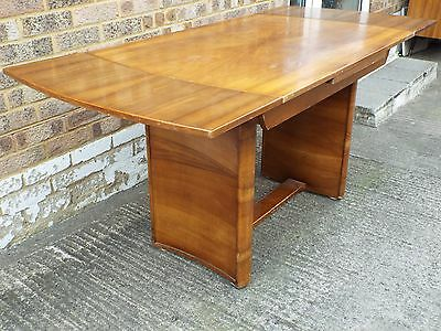 Antique Art Deco Butterfly Walnut Rounded End Draw Leaf Dining Table