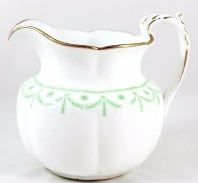 Lovely Pitcher Large Creamer Antique Royal Cauldon China H7820 Gold Green White