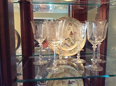 """Set of 6 Heisey Orchid Water Or Wine Goblets Etched Crystal Stems 8 1/4"""" Height"""