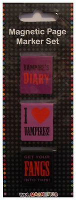 VAMPIRES Horror Book Marks Double Sided Magnetic Page Markers Set. Brand New