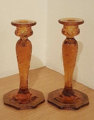 Pair of McKee Amber Rock Crystal Candleholders w/ Ornate Gold Gilt Trim