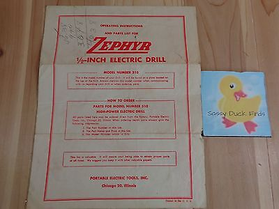 """Zephyr OWNERS MANUAL 1/2"""" Electric Drill Model 510 Operating Instructions Parts"""