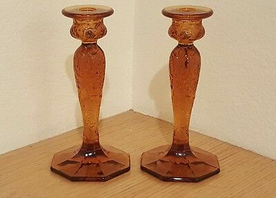 Pair of McKee Amber Rock Crystal Candlesticks with Hexagon Base