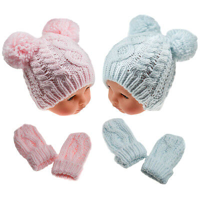 Baby Chunky Knitted Pom Pom Hat & Mittens Set Cable Knit by Soft Touch AW'17