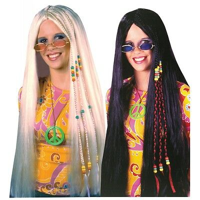 Long Braided Hippie Wig Adult Costume Accessory Fancy Dress