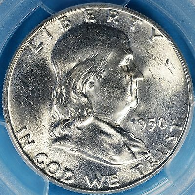 1950 Franklin Half Dollar PCGS MS64FBL- Strong Luster, Nice Looking Example