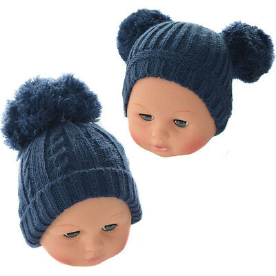 Baby Neutral Navy Blue Romany Spanish Style Pom Pom Knitted Hat by Soft Touch